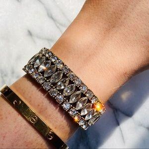 J.CREW Gold Rhinestone Stretch Bracelet